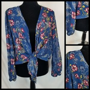 Xhilaration tie front floral sheer blouse size S